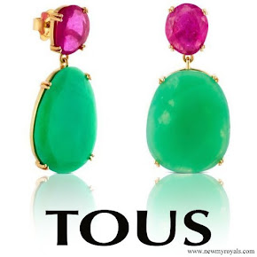 Queen Letizia wearring TOUS Ruby and Emerald earrings