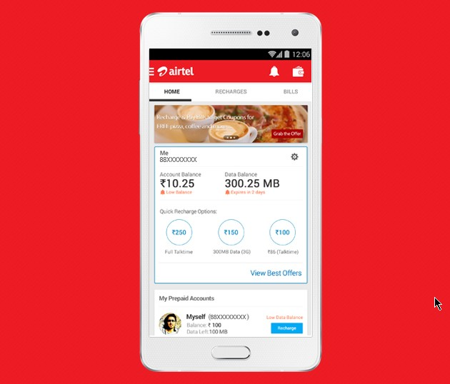 Share internet/data plan with family members on Airtel
