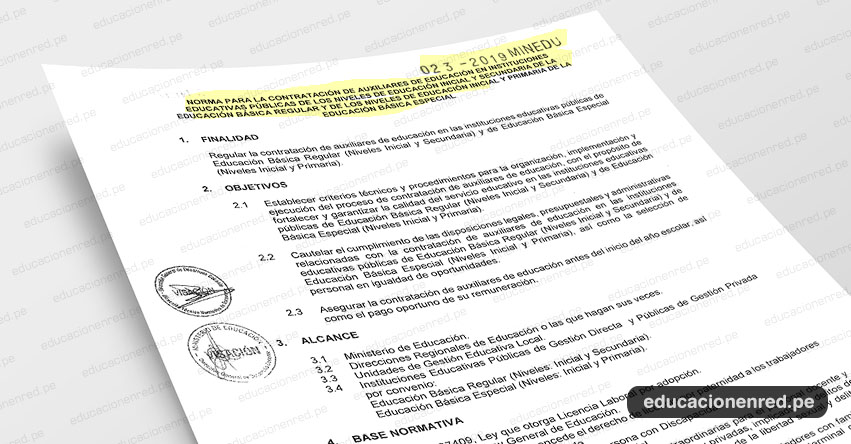 MINEDU publicó Anexos de la Norma Técnica para la Contratación de Auxiliares de Educación Año Escolar 2019 (R. VM. N° 023-2019-MINEDU) www.minedu.gob.pe