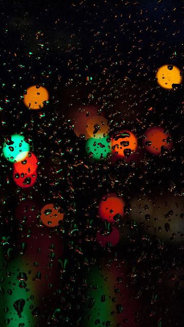 Water drops, glass, bright light, lights, night