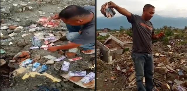 Heboh! Uang Berserakan di Bekas Gempa Petobo