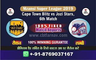 Mzansi Super League Jozi vs Cape Town 6th MSL 2019 Match Prediction Today Reports