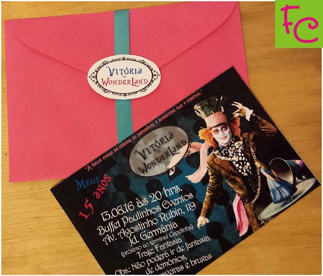 Convite Padrão 10X15 cm - Tema Alice no País das Maravilhas - 15 Anos
