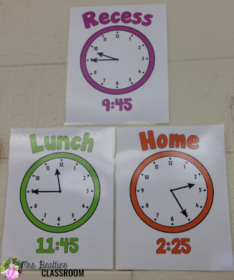 Picture of visual schedules for the classroom using clocks.