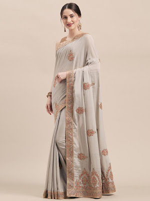 Indian Party wear Peach Chinon Silk Saree with Zari and Thread Embroidery