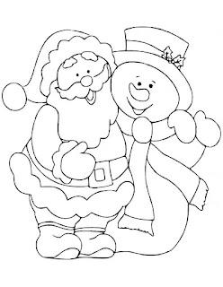 דף צביעה סנטה קלאוס ואיש שלג