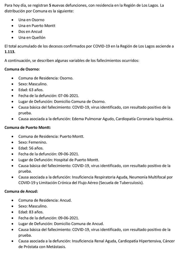 COVID19: Región de Los Lagos - Reporte 13 de Junio 2021