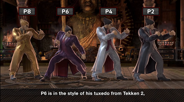 Kazuya tuxedo suit costume colours gold purple white black Tekken Super Smash Bros. Ultimate