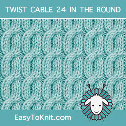 2/2/2 Right Purl Cross Twist Cable, easy to knit in the round