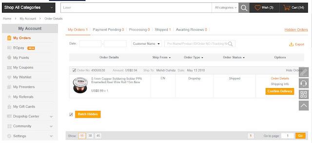 شرح الشراء من موقع banggood عن طريق نضام الدروبشيببروغرام
