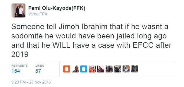 FFK blasts Jimoh Ibrahim: His anus is leaking after homosexual activities