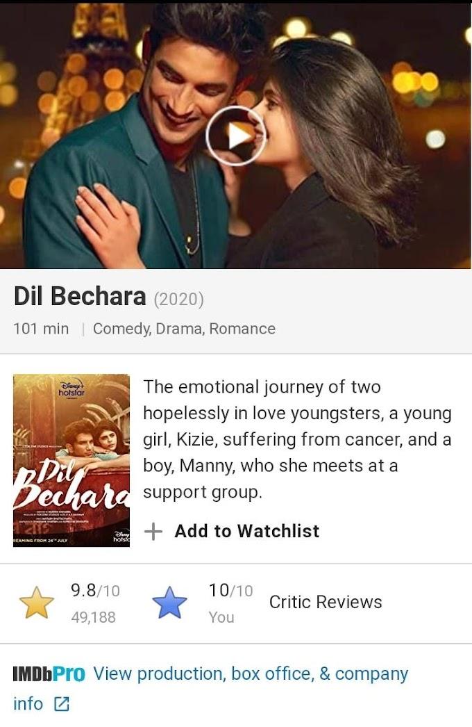 सुशांत सिंह की अंतिम फिल्म दिल बेचारा ने फिर से रिकॉर्ड बनाया, सबसे ज्यादा IMDB रेटेड फिल्म बन गई