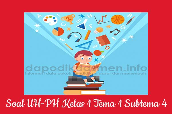 Soal UH PH Kelas 1 Tema 1 Subtema 4 Kurikulum 2013