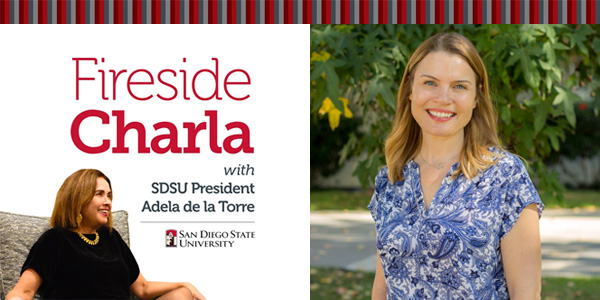 Fireside Charla graphic with photo of Dr. Jessica Suhrheinrich.