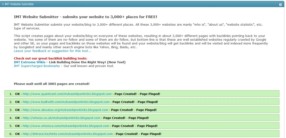 Free Blog and Website Tools - SEO For Free: FREE Mass Ping Site