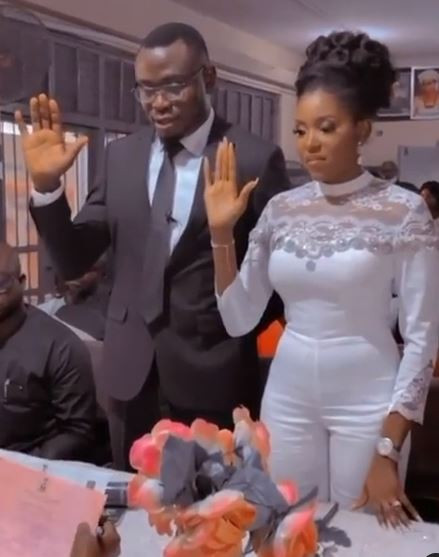 Yoruba Actress, Biola Adebayo ties the knot with her lover (video)