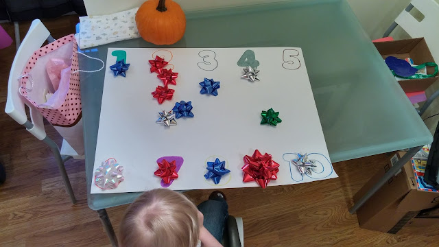 Counting out bows on poster board