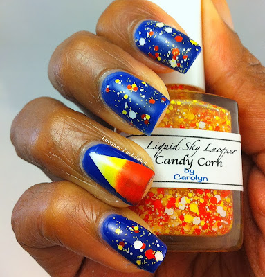 Halloween nails, halloween nail art, halloween candy corn nails, candy corn nails,  candy corn nail art, Liquid Sky Lacquer Candy Corn, Lacquer Lockdown, Halloween 2013, Halloween, nail art, cute nail art, cute nails, easy nail art, Essie Bouncier It's Me, indie nail polish