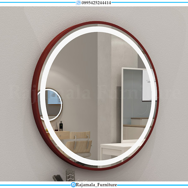 Minimalist Style Cermin Hias Bundar Kayu Jati Jepara Perhutani Natural Color RM-0405