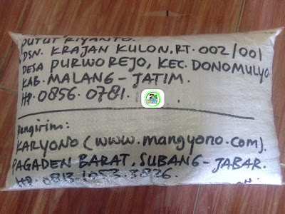 Benih padi yang dibeli   PUTUT RIYANTO Malang, Jatim.  (Setelah packing karung ).