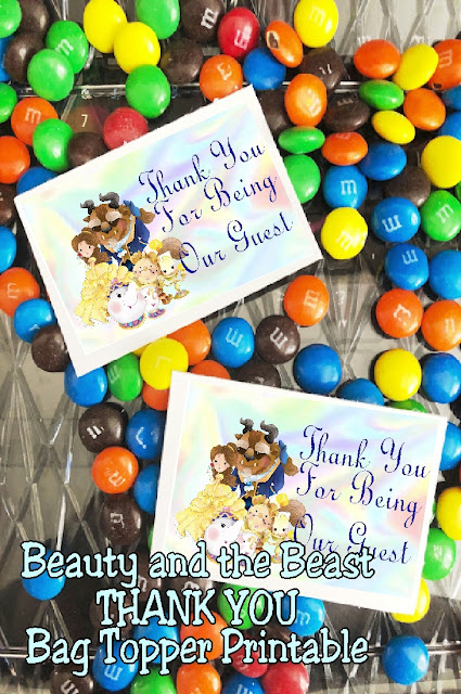 Say thank you to your guests and friends at your Beauty and the Beast party with this yummy bag topper printable. Simply print, fill, and give for the perfect party favor or treat. #beourguest #partyprintable #beautyandthebeast #bagtopper #partyfavor #diypartymomblog