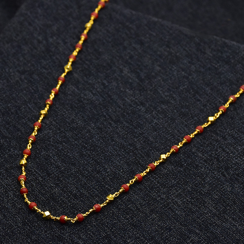Kollam Supreme Premium Fashion Jewellery: Buy Red Coral Beads Mix With  Golden Beads Chain Online| Kollam Supreme