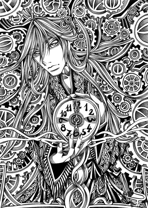 20-Clockwork-Sandra-Filipova-DarkSena-Manga-Black-and-White-and-Colour-Detailed-Drawings-www-designstack-co
