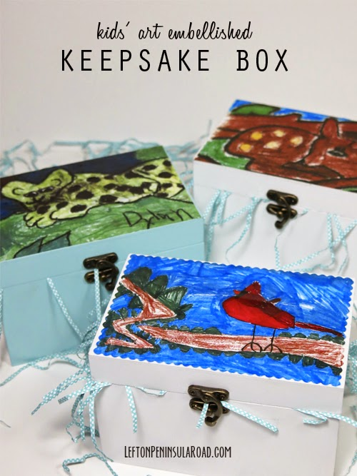 Photocopies of Children's Artwork looks great decoupaged on Keepsake Boxes. Great gift idea!