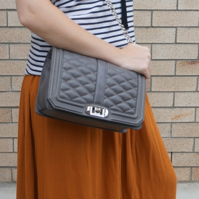 Rebecca Minkoff Love cross body bag in grey with amber maxi skirt | away from the blue
