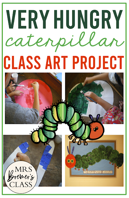 Very Hungry Caterpillar Eric Carle art lesson activity for Kindergarten and First Grade
