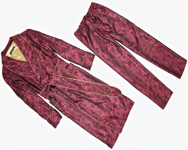 mens red paisley silk robe dressing gown burgundy pajamas set trousers gentleman vintage
