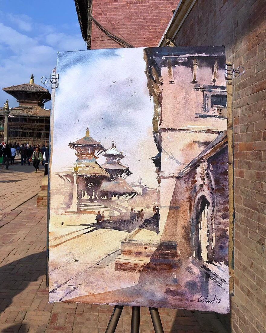 05-Kathmandu-Anastasia-Kústova-Architectural-Watercolor-Paintings-En-Plein-Air-www-designstack-co