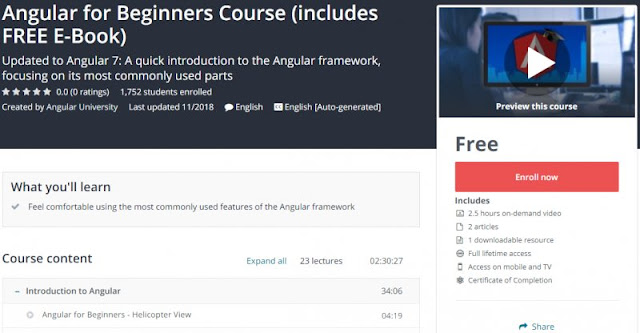 [100% Free] Angular for Beginners Course (includes FREE E-Book)