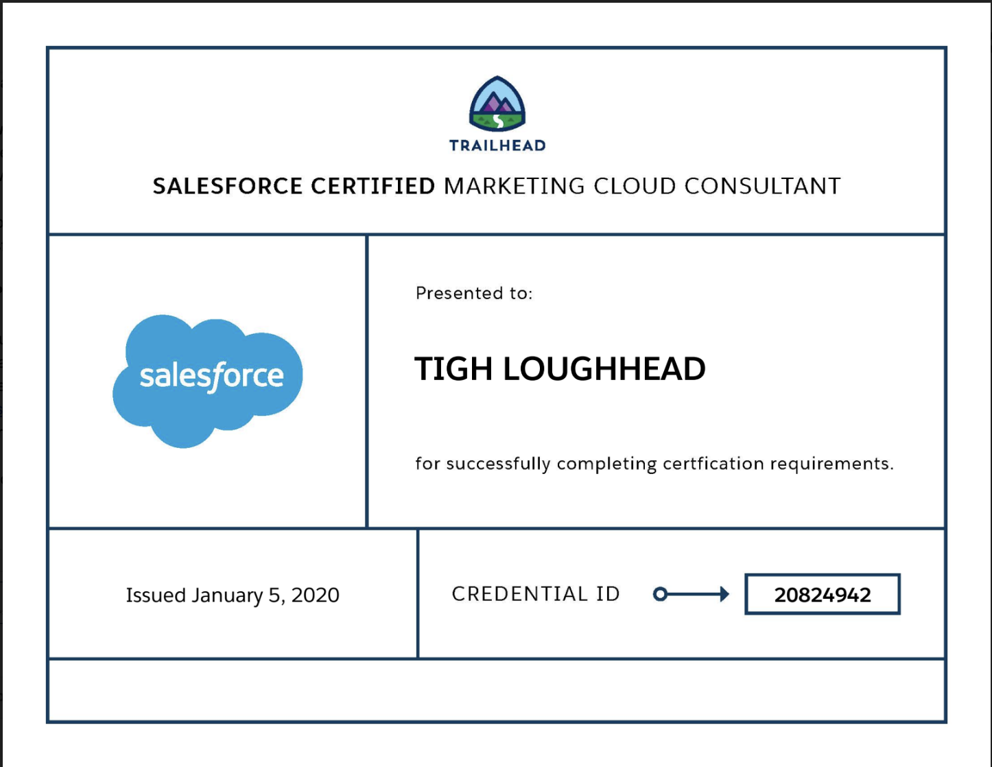 Tigh Loughhead Certified Salesforce Marketing Cloud Consultant and Salesforce MVP