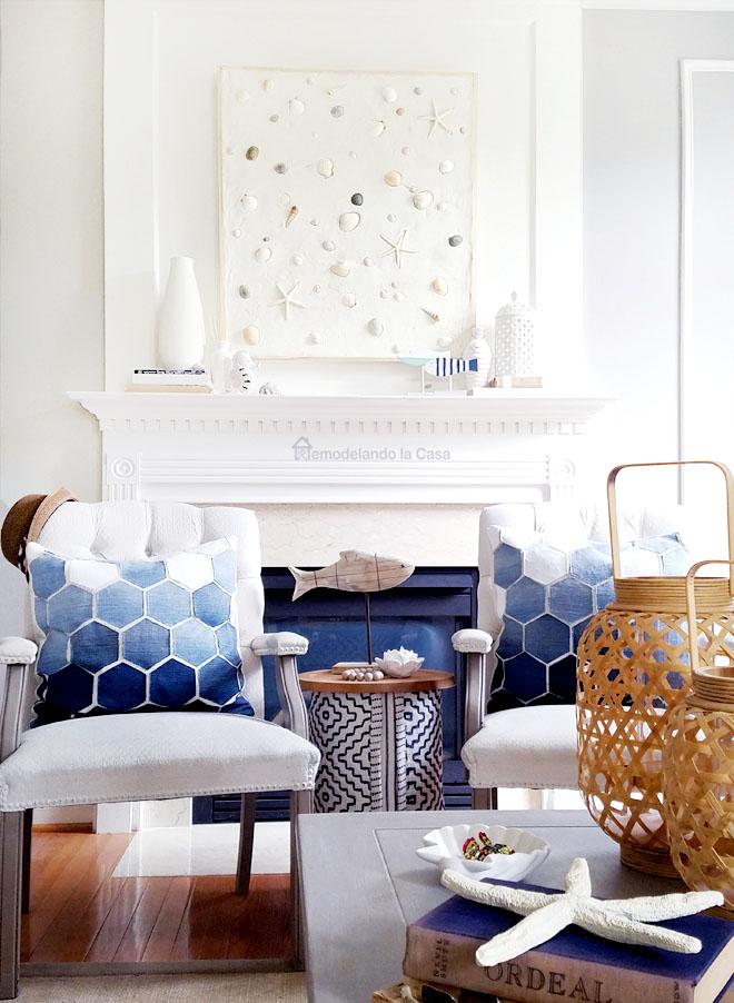 coastal decor - hexagon jean pillows - stump table, fish decor