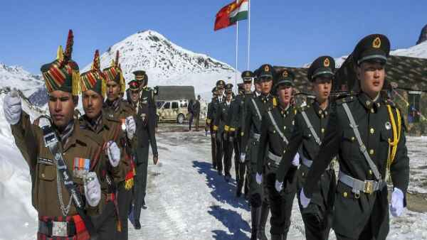 Indian-chinese soldiers drill parade in sikkim