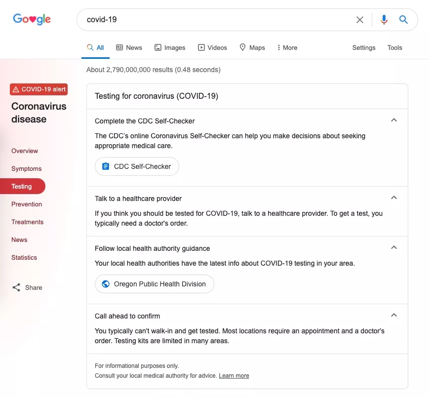 Google is now listing COVID-19 testing centers in search results