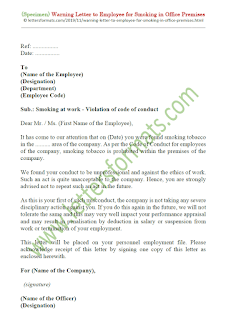 warning letter to employee for smoking in office premises