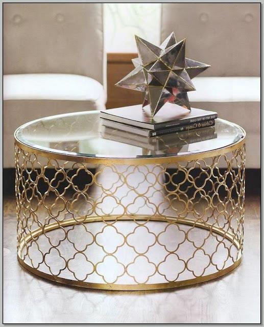 Gold Quatrefoil Coffee Table
