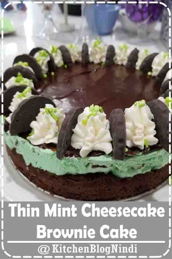 4.9★★★★★   Layers of creamy mint cheesecake and fudge brownies will make this your new favorite cake! #ThinMint #Cheesecake #Brownie #Cake