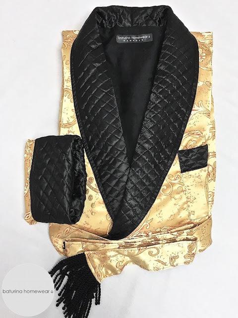 Mens quilted silk luxury dressing gown paisley robe gentleman