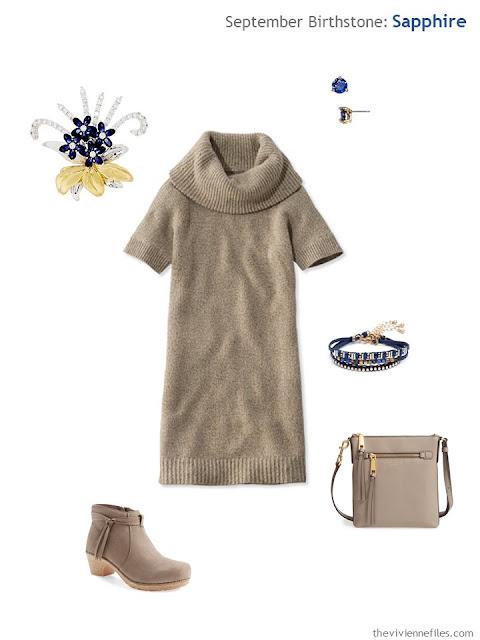 beige dress with sapphire jewelry