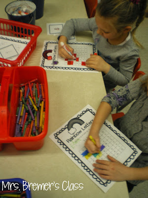 Rainbow Writing activity for letter recognition and printing practice- great as a Kindergarten literacy center!