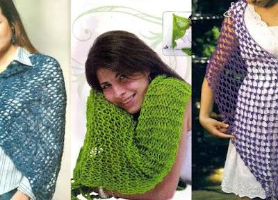 3 Chalinas de crochet  y 3 tonos de moda