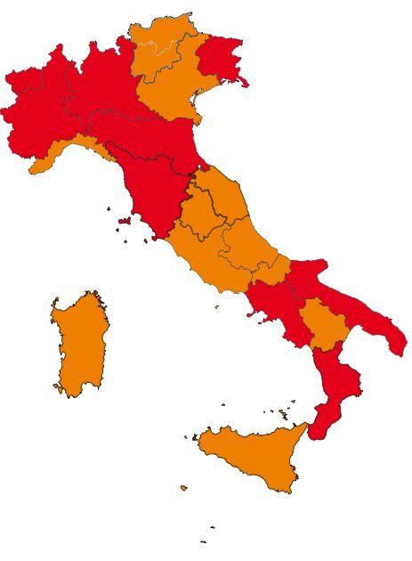 Covid: da lunedì 5 Regioni verso l'arancione