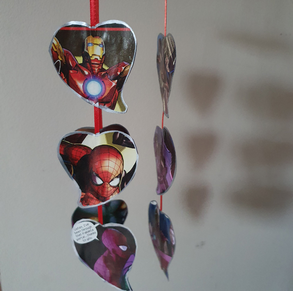 Creating Heart Mobiles from Comic Books