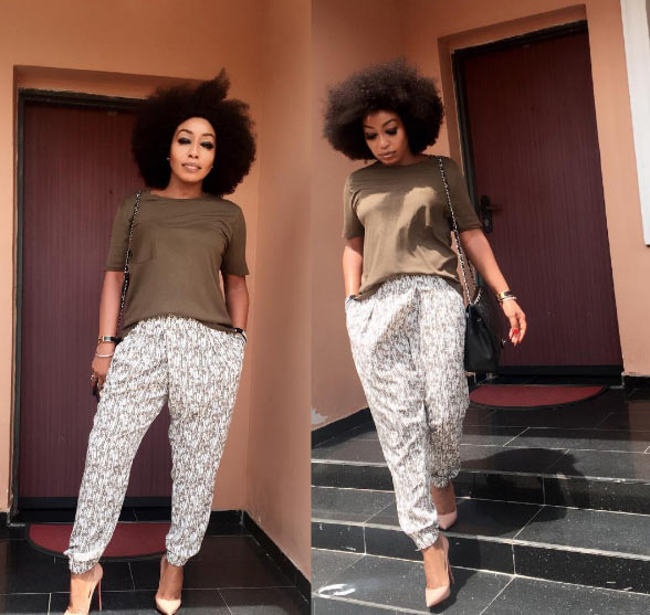 Uber chic: Rita Dominic steps out in baggy pants