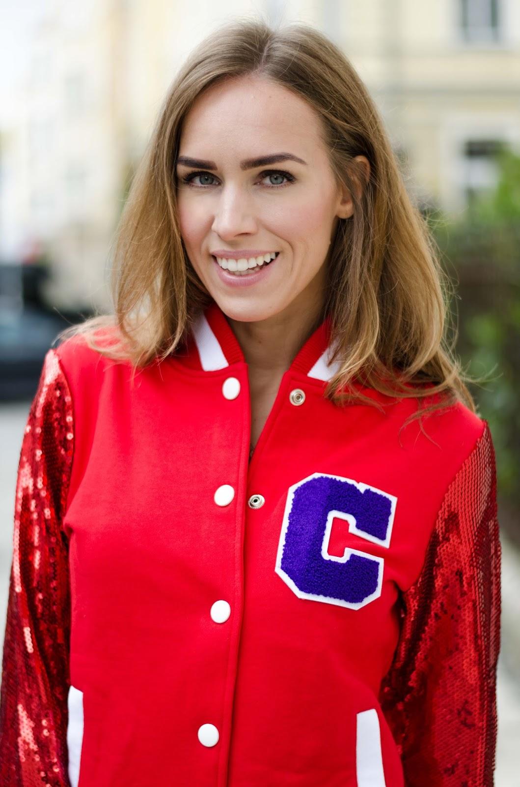 kristjaana mere red sequin bomber jacket