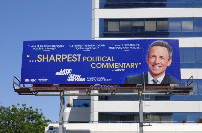 Late Night Seth Meyers 2019 Emmy consideration billboard