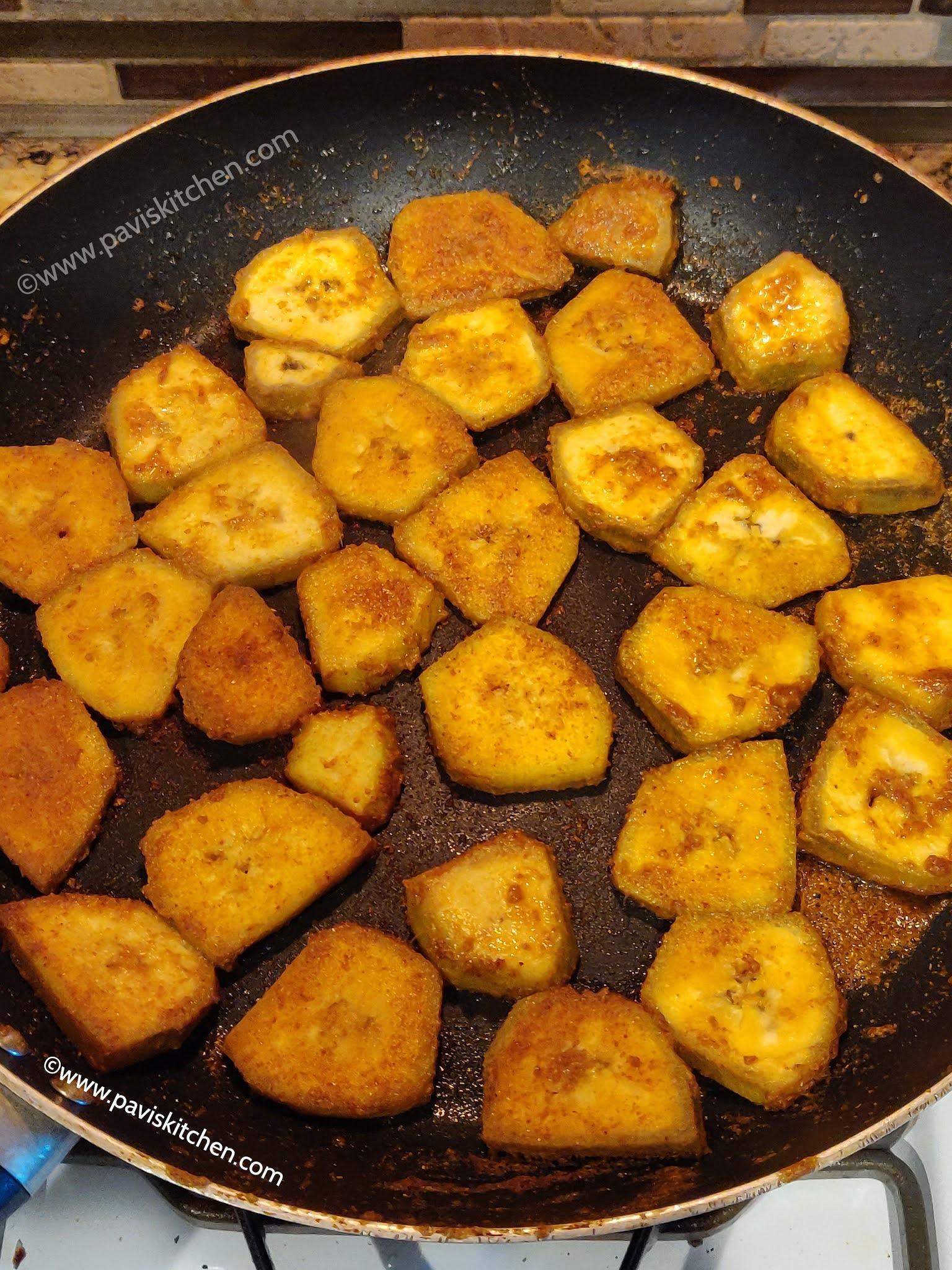 Raw banana fry recipe | Vazhakkai fry recipe | Vazhakkai varuval recipe | Balekai fry | Aratikaya fry
